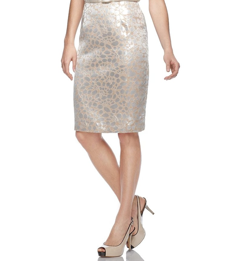 This sleek animal-print-meets-flower-petals design gets amplified by a metallic jacquard finish, and we think it's perfect for a day-to-night transition. Sunny Leigh Metallic Printed Pencil Skirt ($45)