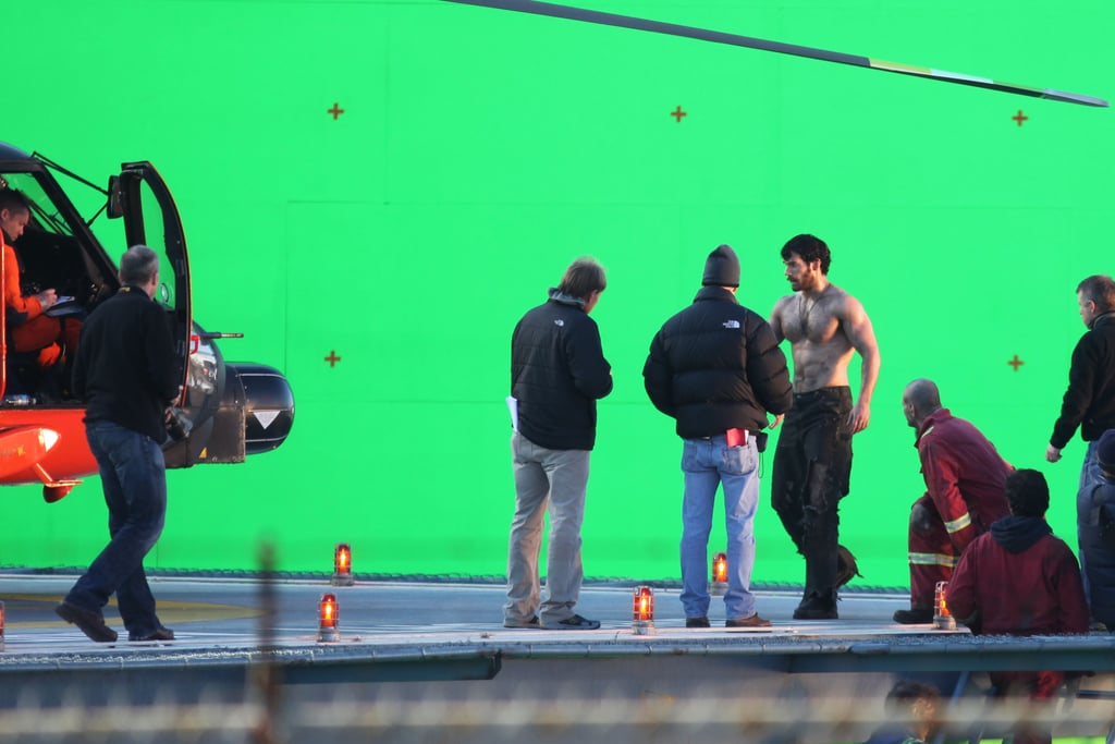 Henry Cavill walked around shirtless on the set of Man of Steel.