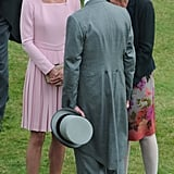 Kate Middleton arrived at the Queen's Jubilee event in London wearing an Emilia Wickstead light pink coatdress.
