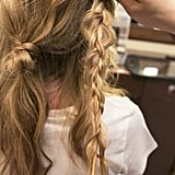 Now braid the right front section. Don't forget to tug at the braid to give it more texture before securing with an elastic.