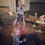 "Jessica Simpson showed off her ""perfect humans"" with her fiancé, Eric Johnson, hoisting their son, Ace, up in the air."