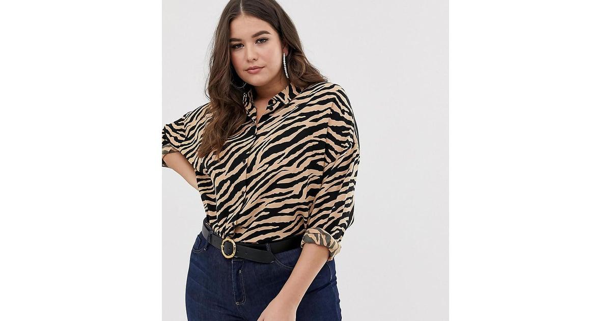 e66d5b407cd ASOS Design Curve Cropped Long Sleeve Shirt in Tiger Animal Print    Flattering Spring Trends 2019   POPSUGAR Fashion Australia Photo 71