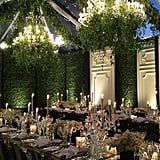 Transform a tent into an enchanted garden with grassy walls and ivy-covered chandeliers.