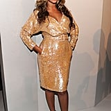 Beyoncé Knowles accessorized with nude pumps.