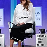 Queen Rania Wearing Belt at the Clinton Global Initiative