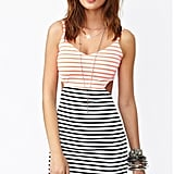 Cutouts and stripes give this casual dress a cool twist.  Nasty Gal Seeing Stripes Cutout Dress ($48)