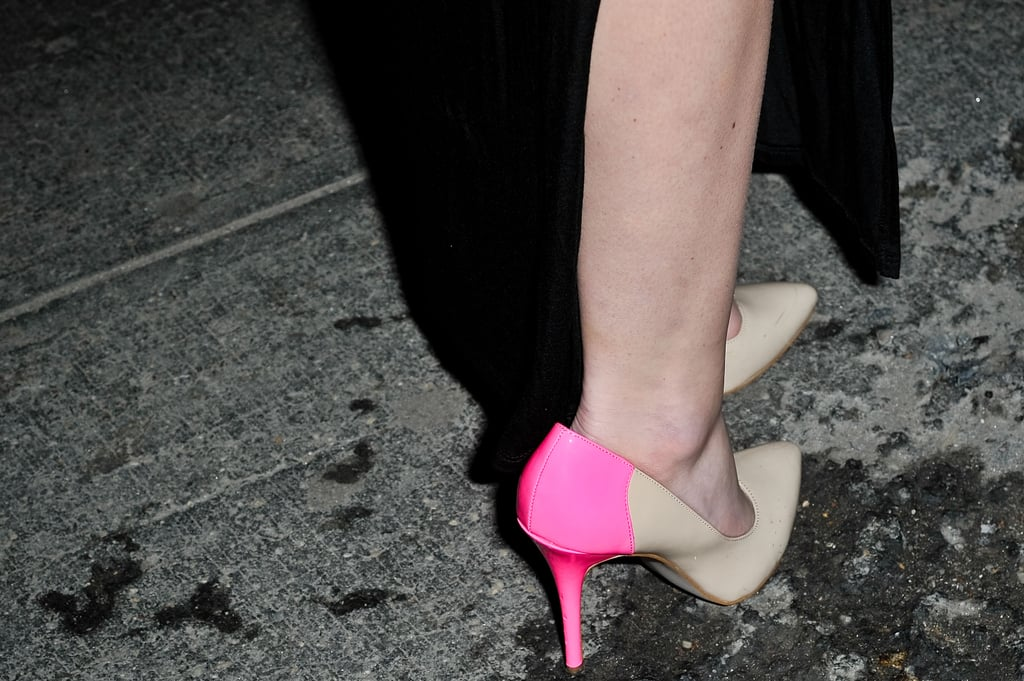 Colorblocked pumps in a bright pink hue have a covetable ladylike-gone-cool feel.