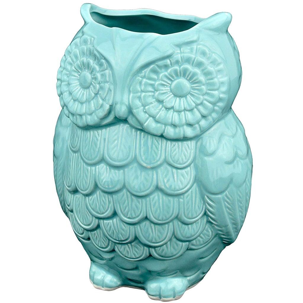 Aqua Blue Owl Design Ceramic Cooking Utensil Holder