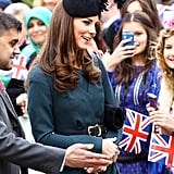 Kate Middleton wore LK Bennett in Leicester.
