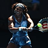 Serena Williams Wearing Bold Blue Print at the Australian Open in 2009