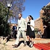 Meghan Markle Wearing a Loyd Ford Dress and Manolo Blahnik Heels in Morocco