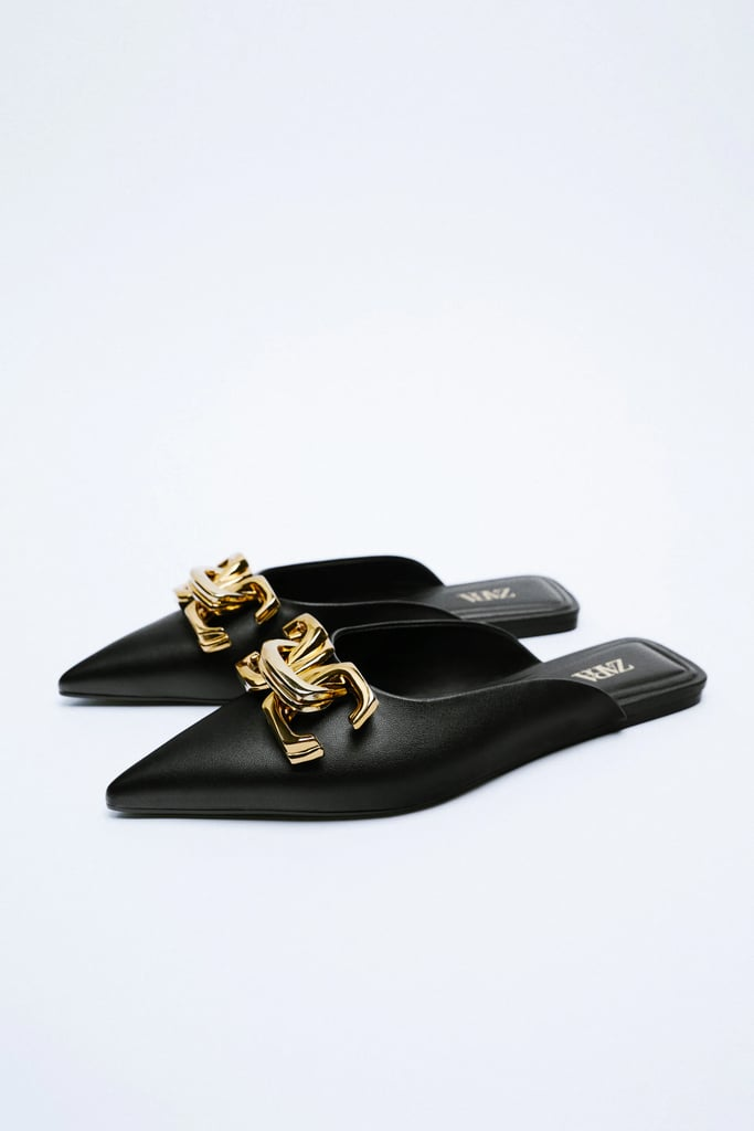 With Cute Buckles: Zara Buckled Flat Mules