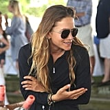 Mary-Kate styled them with a black zip-up and bracelets at the Hampton Classic Horse Show in 2017.