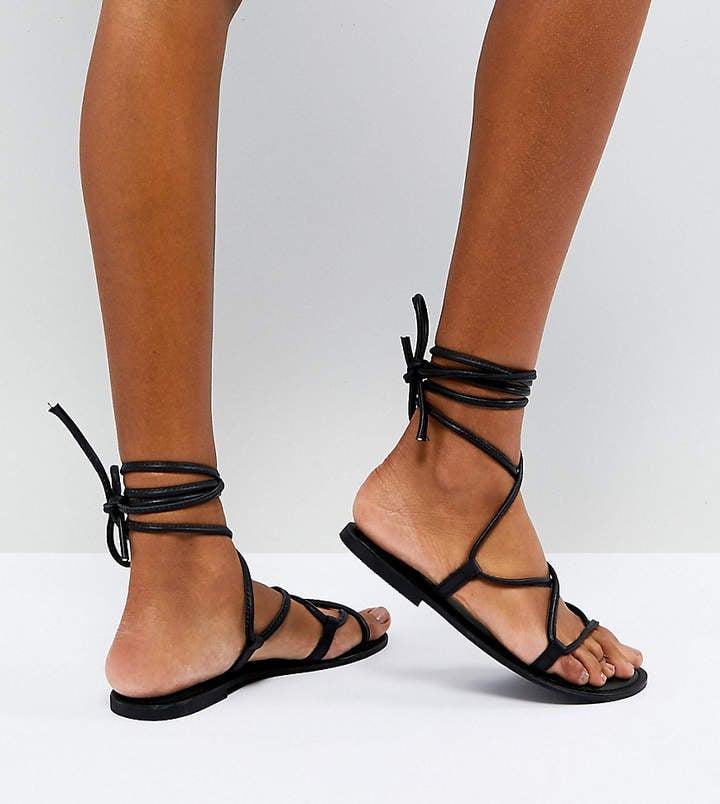 ASOS Flow Leather Tie Leg Sandals