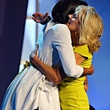 Michelle Obama hugged Jill Biden.