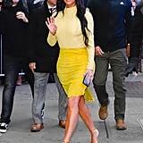Kim Kardashian's Yellow Turtleneck and Suede Skirt in NYC