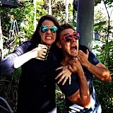 Just another day in the office for Julia Morris and Lincoln Lewis. Source: Instagram user linc_lewis
