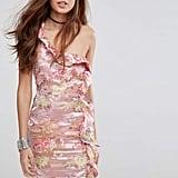 Glamorous One Shoulder Dress In Floral Brocade