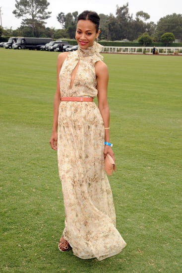 Zoe Saldana Wears Chloe Dress to Polo Challenge