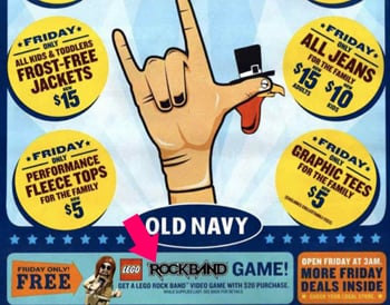 Spend $20 at Old Navy on Black Friday, Get a Free Copy of Lego Rock Band
