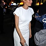 She kept her '20s-inspired updo, but changed into a cap-sleeved LWD for the 2008 amfAR afterparty, hosted by Fendi.