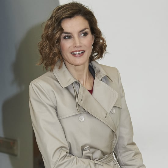 Queen Letizia Wearing a Trench Coat in Madrid