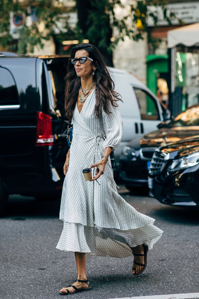 A wrap dress and sandals is an effortless combo that always looks good.