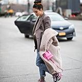 Winter Outfit Idea: A Blazer Under a Big Teddy Coat