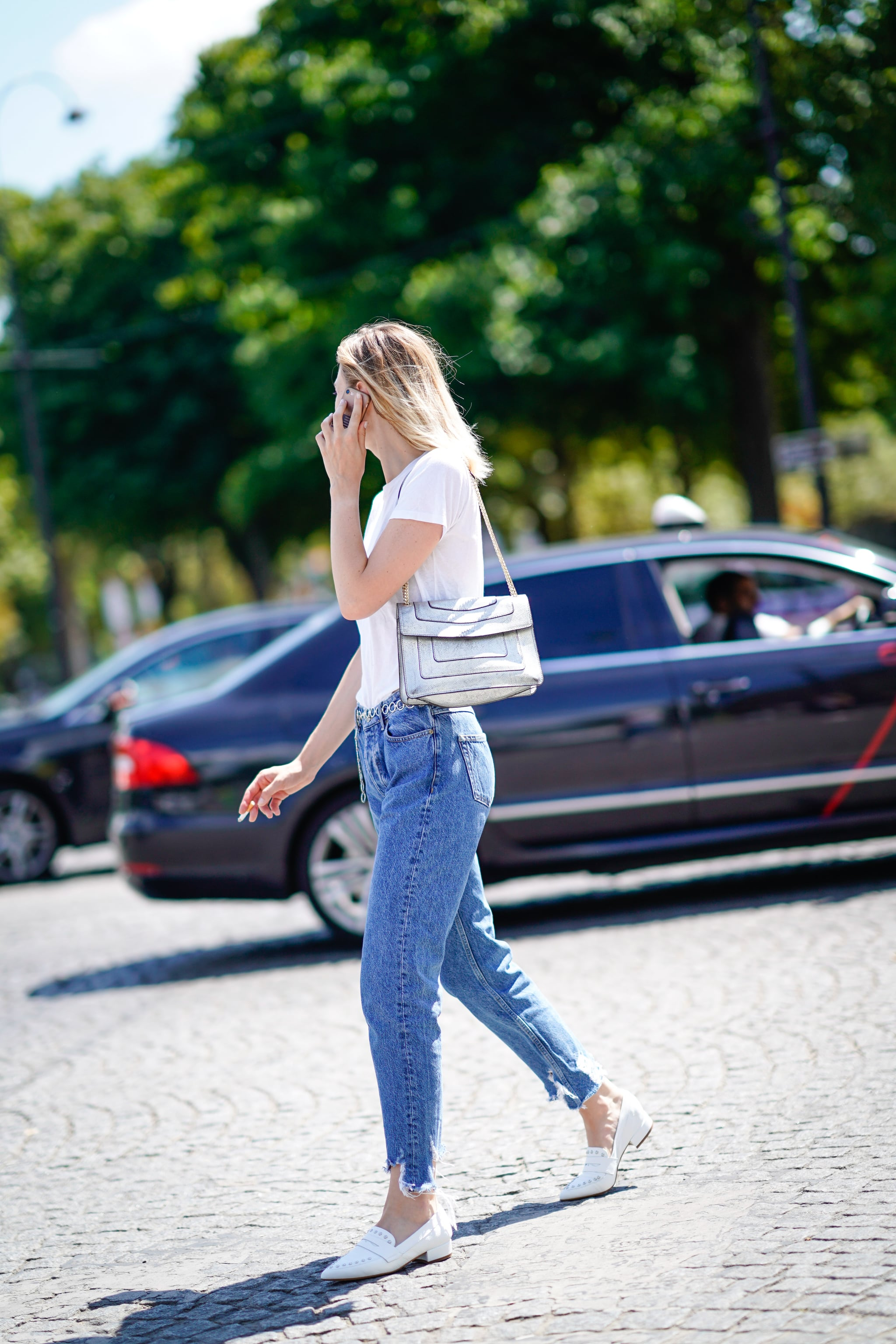 white loafers with a t-shirt and jeans