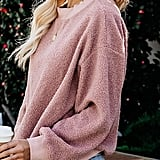 MIROL Fuzzy Crewneck Fleece Sweater