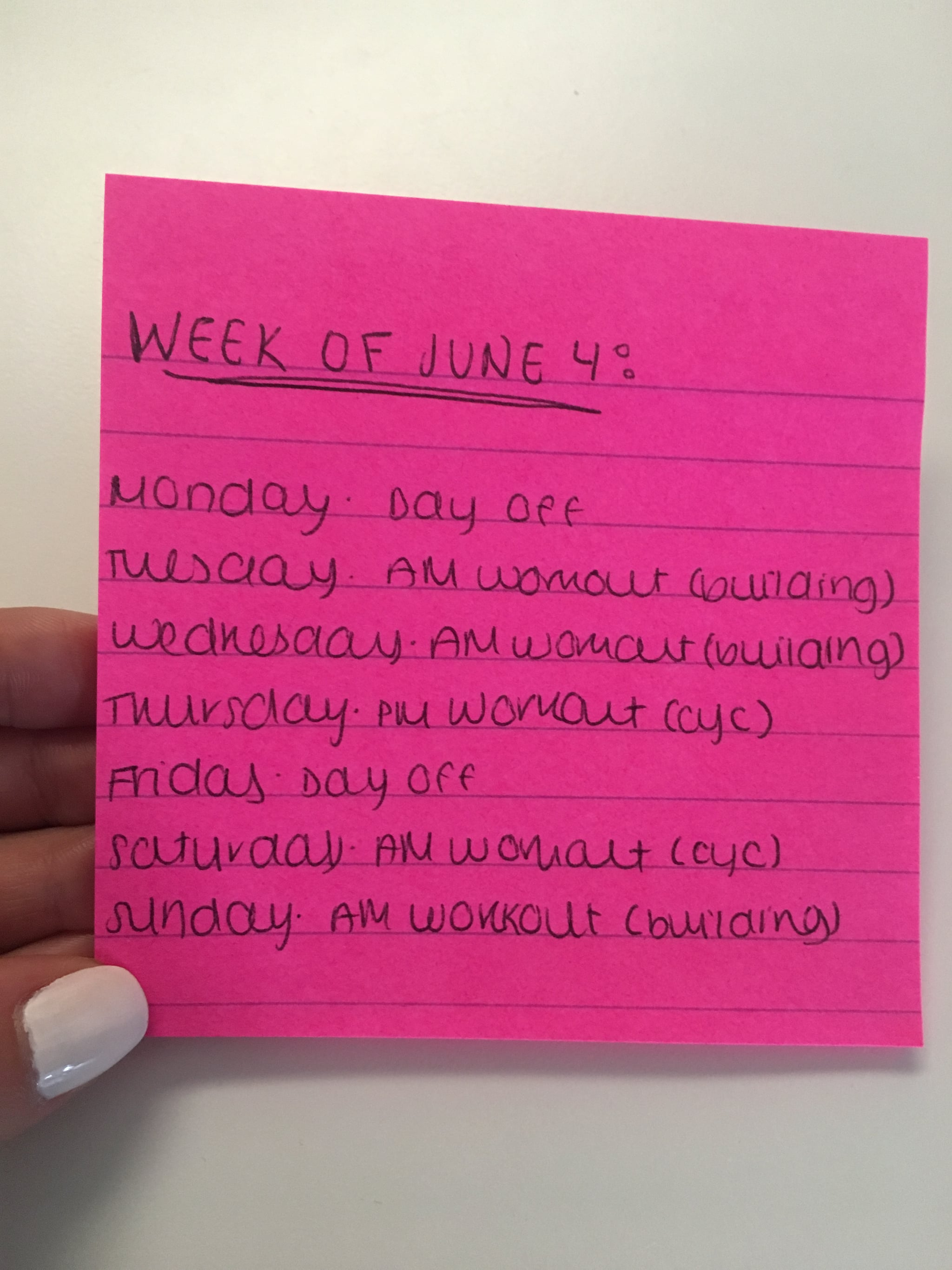PopsugarFitnessLife HacksPost-It Hack For Planning Weekly WorkoutsThis Post-It Hack Is the Key to Sticking to Your Weekly Workout Plan, and It's so SimpleJune 6, 2018 by Perri Konecky0 SharesChat with us on Facebook Messenger. Learn what's trending across POPSUGAR.Source: POPSUGAR Photography / Kat BorchartSome people plan for the week ahead by meal prepping every Sunday, I plan for the week ahead by organizing just about every other aspect of the next seven days. I'm talking my workouts, when I'm washing my hair (correlating with said workout plan), my evening plans or work events, and more, and it all goes down on one little Post-It square. If you're struggling to stick to a workout regimen or are looking for a structured way to bring a little more physical activity into your life, you don't need any complicated apps or some long-winded workout plan, you need a pen, paper, and some good ol' fashioned willpower.Every Sunday, I take a look at my calendar where I have my dinner dates and work events, and I try - 웹