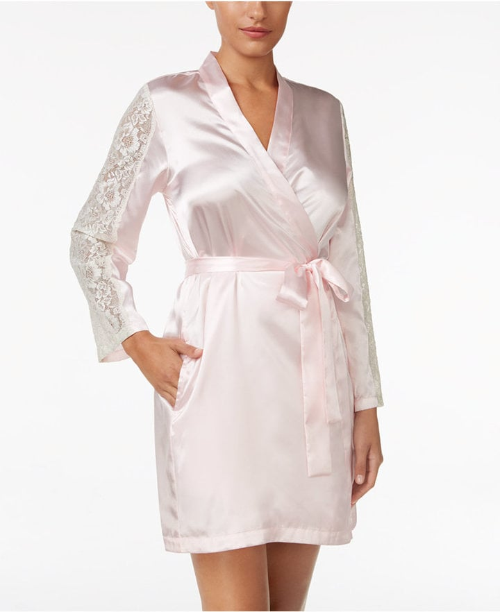 This robe is comfy but has a little bit of detail on the sleeves.  Thalia Sodi Lace-Sleeve Satin Wrap Robe ($37)