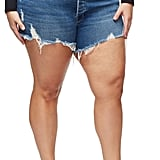 Good American The Bombshell High-Waist Distressed Denim Shorts