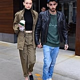 For a casual outing with her beau, Zayn Malik, Gigi dressed head to toe in khaki green. She kept the outfit dark with a black top and black mules.