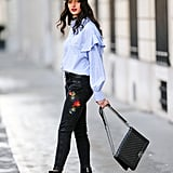 With a block-heel bootie and embellished denim that feels decidedly on trend.