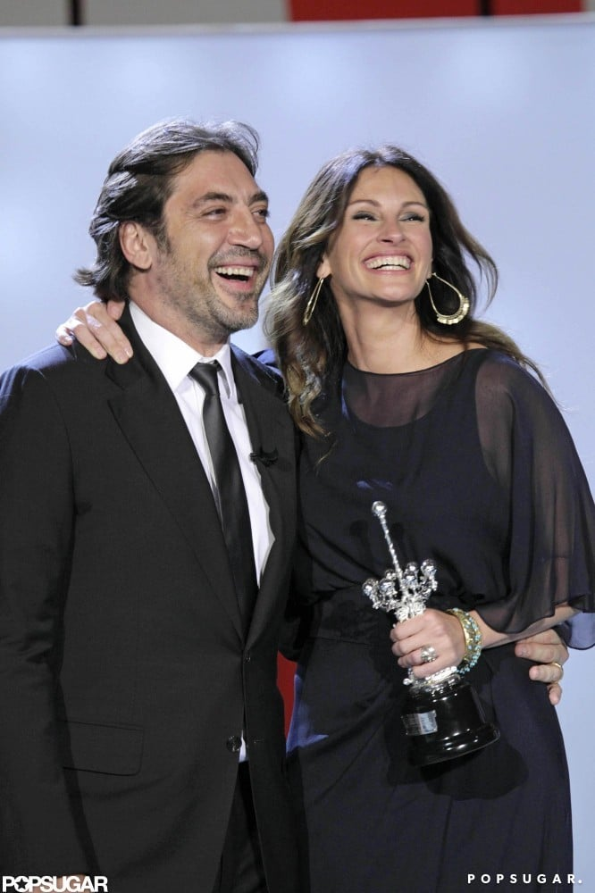 Julia and Javier Bardem shared a laugh in Spain while attending the San Sebastian Film Festival in 2010.