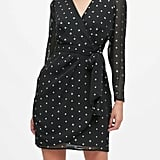 Metallic Star Puff-Sleeve Wrap Dress