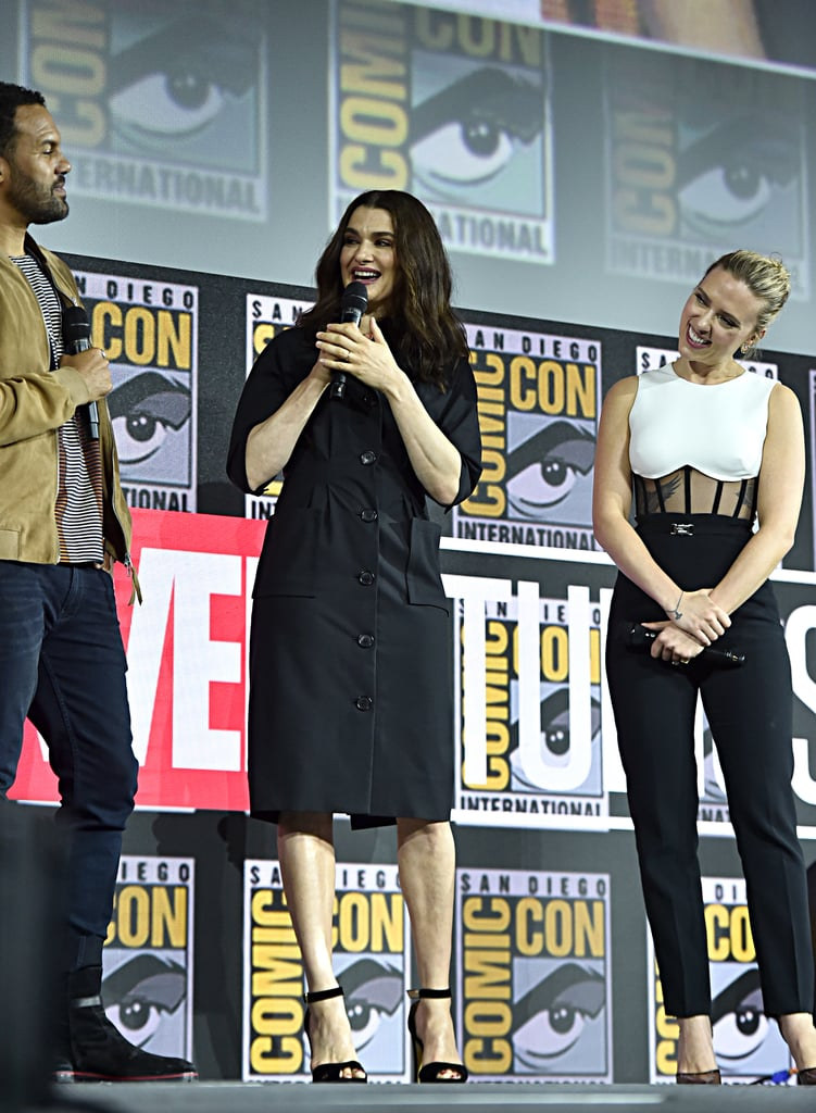 Pictured: O-T Fagbenle, Rachel Weisz, and Scarlett Johansson at San Diego Comic-Con.