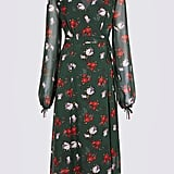 Marks & Spencer Floral Print Bubble Sleeve Wrap Midi Dress