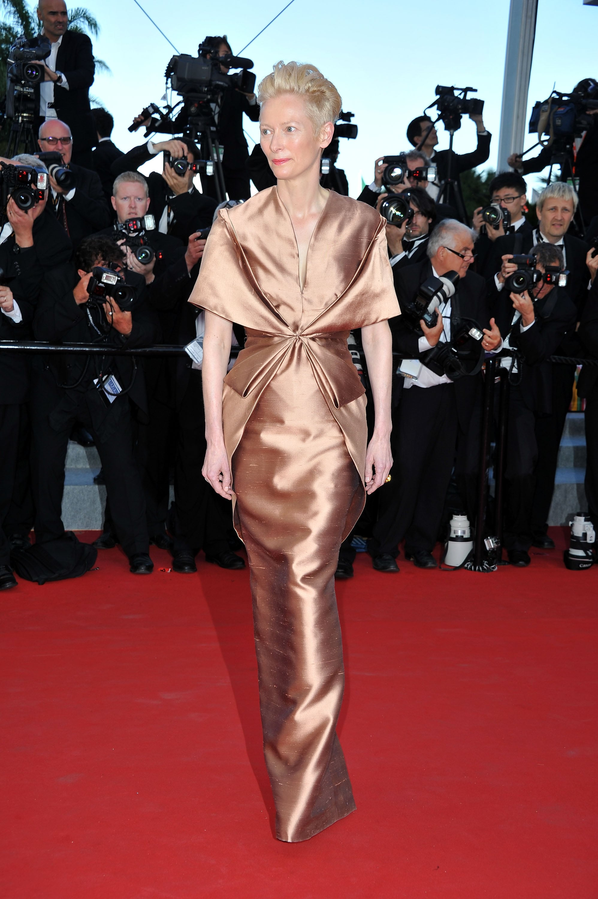 Tilda Swinton wore a copper Haider Ackermann gown to the 2012 Cannes premiere of Moonrise Kingdom.