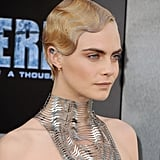 Cara Delevingne's Metallic Marcel Waves, 2017