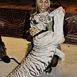 Beyoncé fed a baby tiger during Blue's birthday party. Source: Tumblr user Beyoncé Knowles