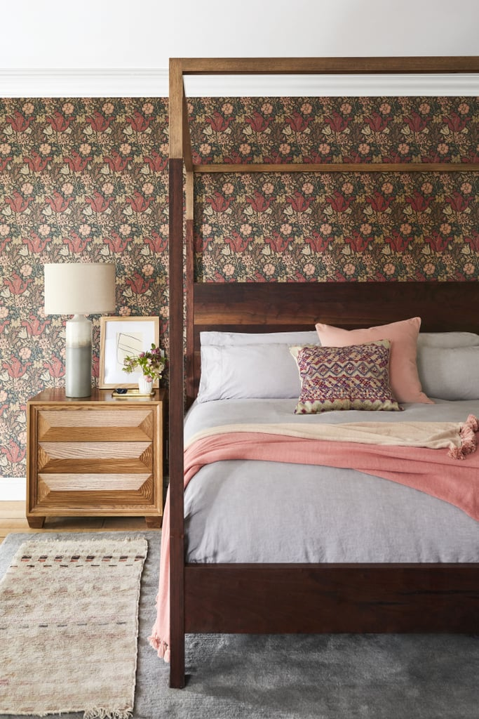 """When it came to designing a bedroom she truly felt at home in, Hilary upped the ante by incorporating a bold floral wallpaper. """"I grew up with wallpaper. My mum was fanatical about it, so it makes me feel nostalgic,"""" Hilary said."""