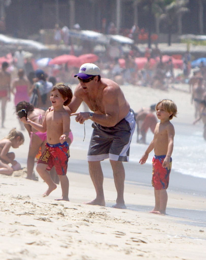 Jayden James and Sean Preston Federline wore matching red swim trunks to the beach in Brazil.