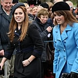 Princess Beatrice and Princess Eugenie attended the Christmas Day church service at St. Mary's Church on Dec. 25, 2008, in Sandringham, England.