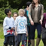 Kate Middleton visited with children from Expanding Horizons' primary school outdoor camp.