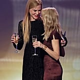 Nicole Kidman and Naomi Watts enjoyed a champagne on stage.