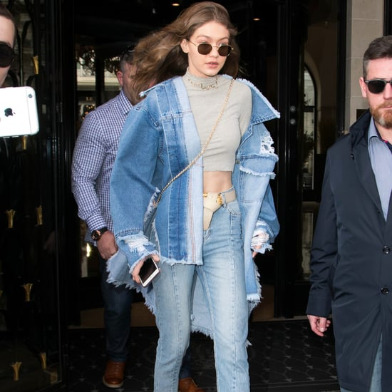 Gigi Hadid Denim Outfit at Paris Fashion Week Fall 2017