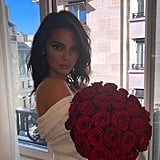 Kendall Posed With a Bouquet of Roses in Her Hotel Room