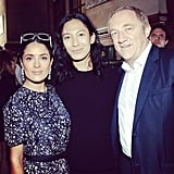 Salma Hayek and Francois-Henri Pinault shared the spotlight with Balenciaga's Alexander Wang after the show. Source: Instagram user buro247ru
